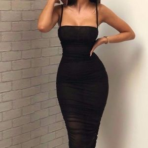 Dresses & Skirts - Ruched straight neck midi dress with slit